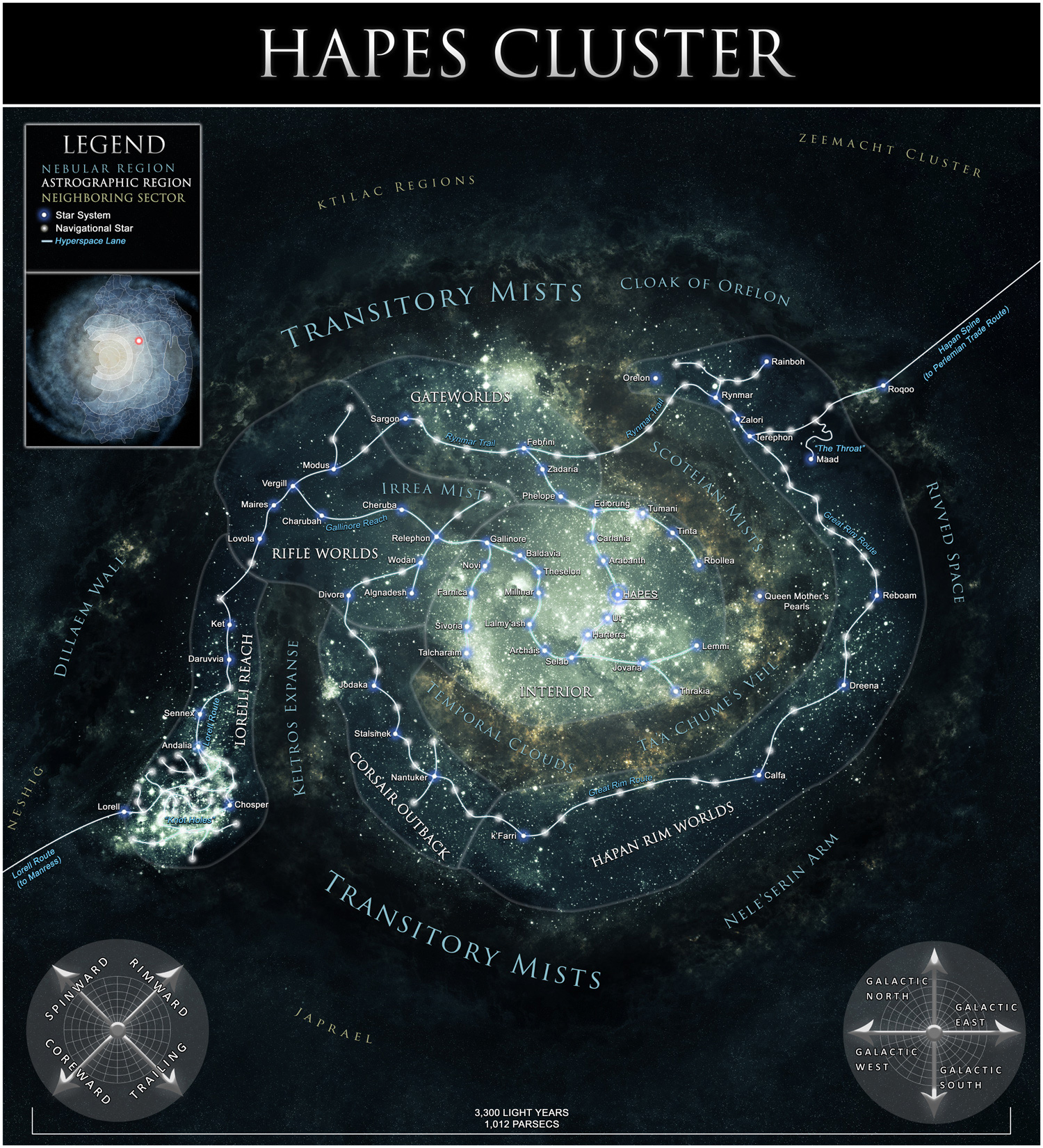 Geographic map of the Hapes Cluster.