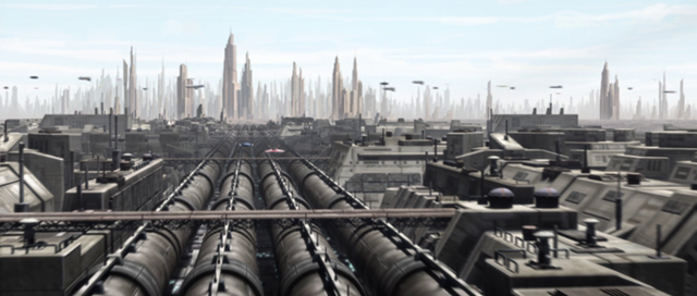 One of the Kerdos Company's many recycling plants on the planet of Coruscant.