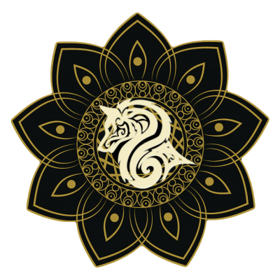 """Crest of Clan Ekko, featuring a rare flower found on Kiffex, with a symbol of a Loth-Wolf that saved the life of the very first Ekko Clan Leader on his travels on Lothal."""