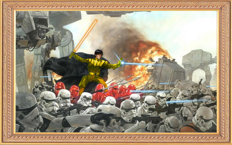 Artist's interpretive painting of Nathaniel Durane as Lord General and Darth Aurarius, leading the Imperial Army into battle